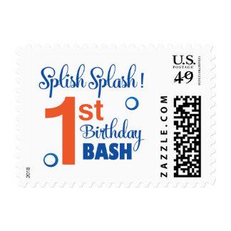 Splish Splash first birthday bash Stamp