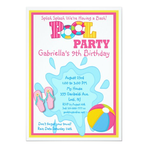 Splish Splash Girls Pool party Invitation
