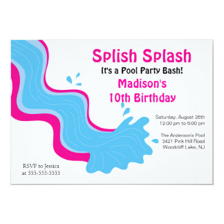 "Splish Splash Pool Party Birthday Invitation 5"" X 7"" Invitation Card"