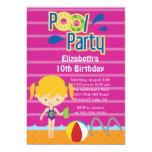 Splish Splash Pool Party Birthday Invitation girl