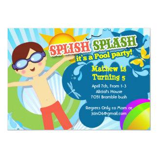 Splish Splash pool party birthday party invitation