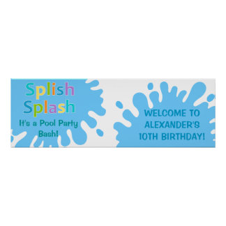Splish Splash Pool Party Boy Birthday Banner Poster