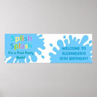 Splish Splash Pool Party Boy Birthday Banner Poster