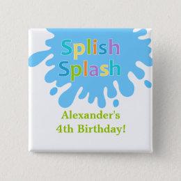 Splish Splash Pool Party Boy Birthday Button