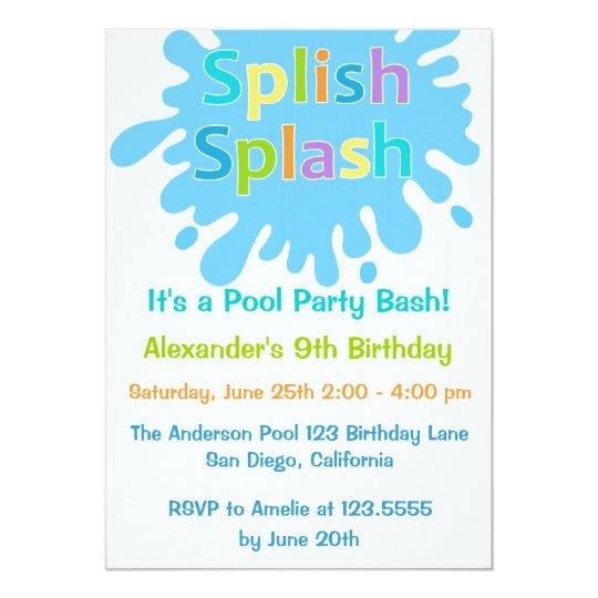 Splish Splash Pool Party Boy Birthday Invitation