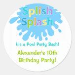 Splish Splash Pool Party Boy Birthday Sticker Round Sticker
