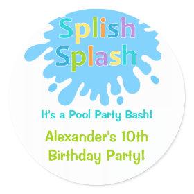 Splish Splash Pool Party Boy Birthday Sticker