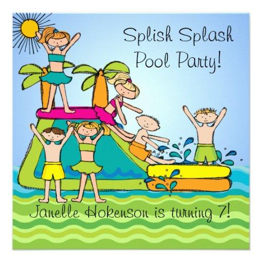 Splish Splash Pool Party Custom Birthday Invites