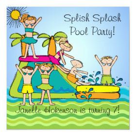 Splish Splash Pool Party Custom Birthday Invites 5.25