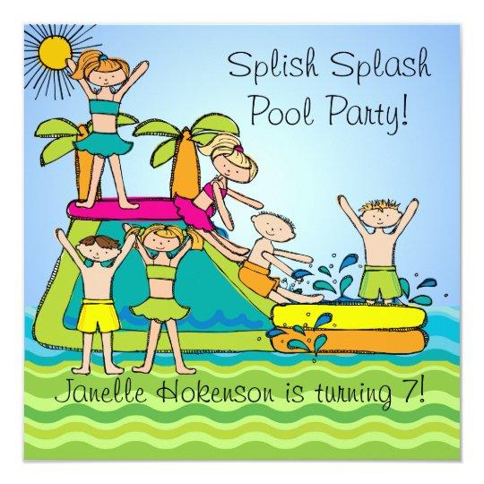 Splish Splash Pool Party Custom Swimming Birthday Invitation