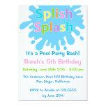 Splish Splash Pool Party Girl Birthday Invitation Personalized Invites