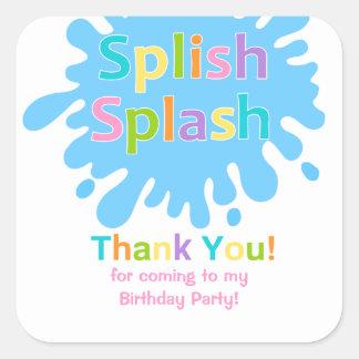 Splish Splash Pool Party Girl Birthday Sticker
