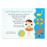 Splish Splash Pool Party Girls Birthday Invitation