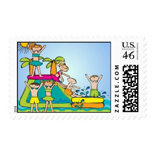 Splish Splash Pool Postage Stamps