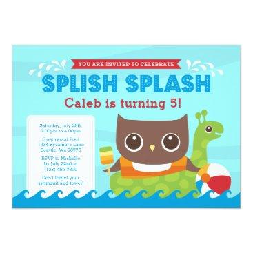 Beach Themed Splish Splash Swimming Owl Birthday Invitation