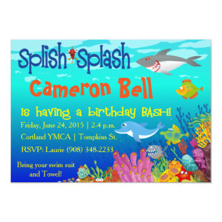 Splish Splash Under the Sea Birthday Bash! 5x7 Paper Invitation Card