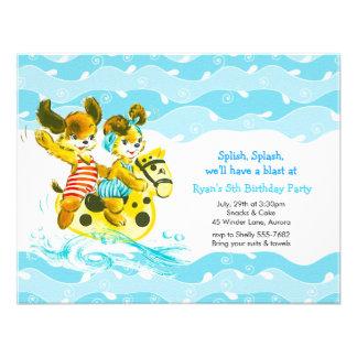 Splish Splash Vintage Dogs Swimming Birthday Party Personalized Invitation