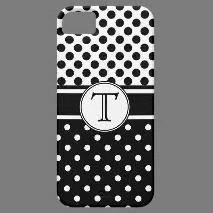 Split Black White Polka Dot Pattern Monogram iPhone 5 Cases
