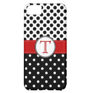 Split Black White Polka Dot RedvMonogram Cover For iPhone 5C