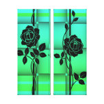 Split Canvas Roses on Green Canvas Print