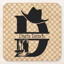 Split 'D' Cowboy Monogram Square Paper Coaster