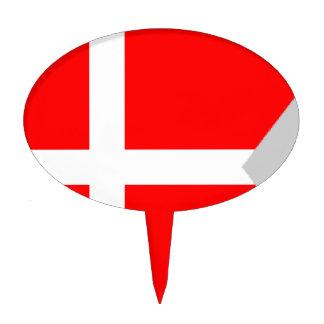 Split Denmark Flag Cake Pick