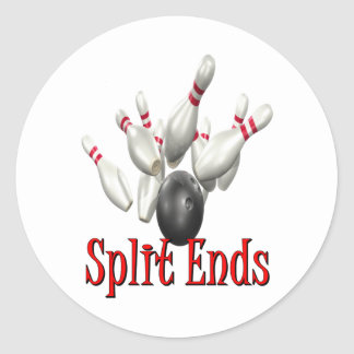 Split Ends Bowling Classic Round Sticker