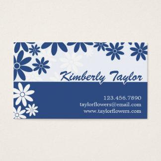Split Floral Pattern - Dark Blue Business Card