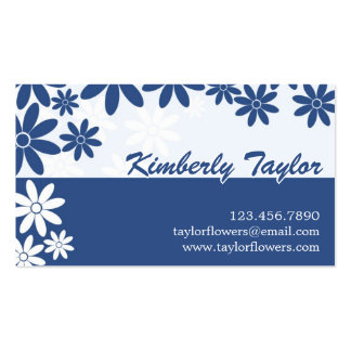 Split Floral Pattern - Dark Blue Business Cards
