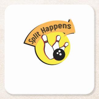 Split Happens Bowling Funny Square Paper Coaster