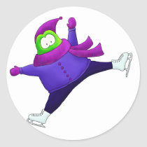 Split Jump Skating Frog Classic Round Sticker