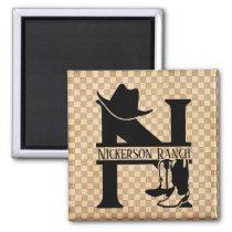 Split 'N' Cowboy Monogram Magnet