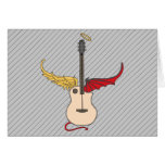 Split Personality Guitar (w/ tail halo) Greeting Card