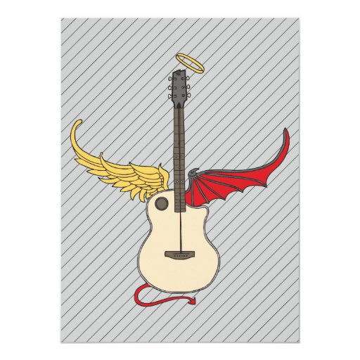 Split Personality Guitar (w/ tail halo) 5.5x7.5 Paper Invitation Card