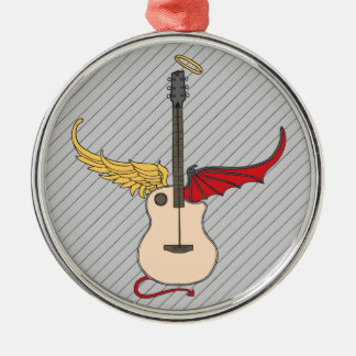Split Personality Guitar (w/ tail halo) Metal Ornament
