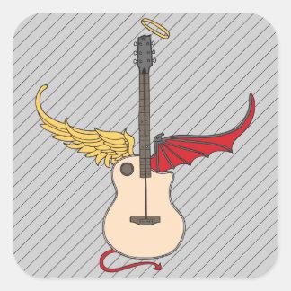 Split Personality Guitar (w/ tail halo) Square Sticker