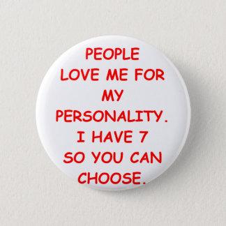 split personality pinback button