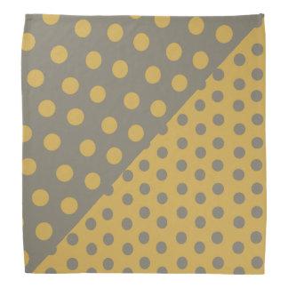 Split Personality Polka Dots - Yellow+Gray Bandana