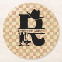 Split 'R' Cowboy Monogram Round Paper Coaster