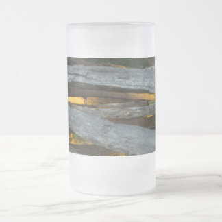 Split Rail Texture Frosted Glass Beer Mug