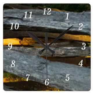 Split Rail Texture Square Wall Clock
