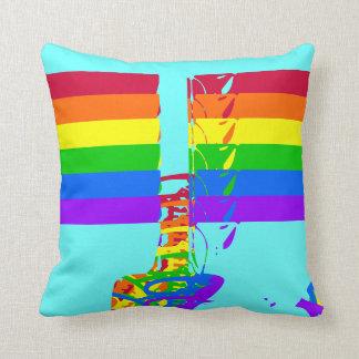 Split Rainbow Throw Pillow
