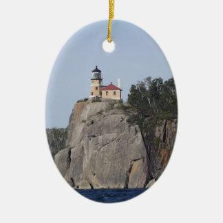 split rock light house ceramic ornament