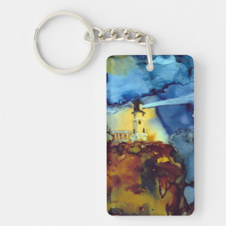 Split Rock Lighthouse At Night Double-Sided Rectangular Acrylic Keychain