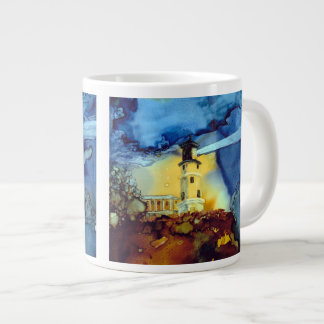 Split Rock Lighthouse At Night Large Coffee Mug