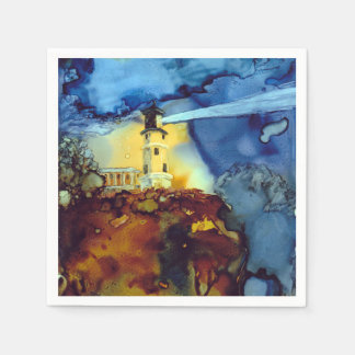 Split Rock Lighthouse At Night Paper Napkin