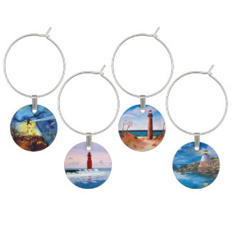 Split Rock Lighthouse At Night Wine Charm