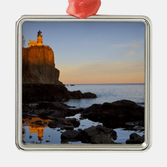 Split Rock Lighthouse at sunset near Two Metal Ornament