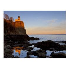 Split Rock Lighthouse At Sunset Near Two Postcard at Zazzle