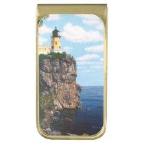 Split Rock Lighthouse Gold Finish Money Clip